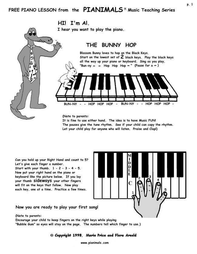 Free Piano Worksheets & Free Sheet Music for Kids | Pianimals